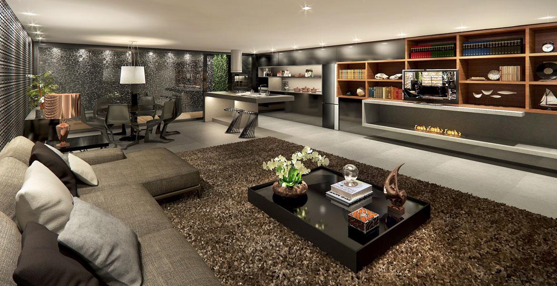 O Estúdio Gourmet, assinado pelo arquiteto Ricardo Rossi, foi inspirado na beleza vibrante de Nova York. O profissional se baseou no desejo de criar um ambiente masculino, com a integração como maior diferencial. Os tons de preto, cinza, marrom e fendi transitam por todo espaço.