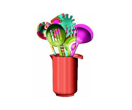 Kit de utensílios bem coloridos da Melamina a venda no site www.seculo22.com por R$ 199,00