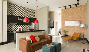 Decoração urbana com ambientes integrados em 70m²
