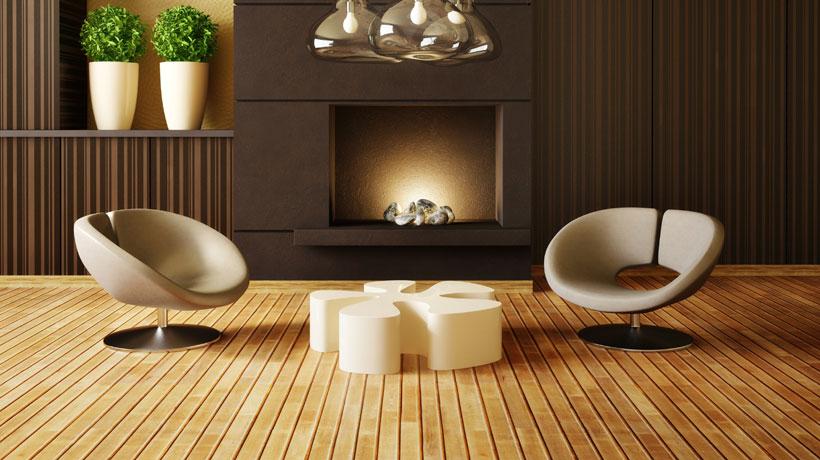 Ambiente com acabamento em madeira