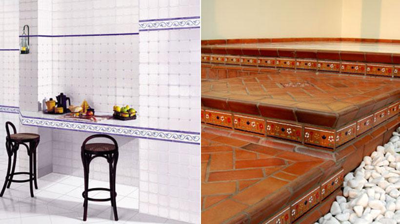 Detalhes de decoração com faixa de azulejo