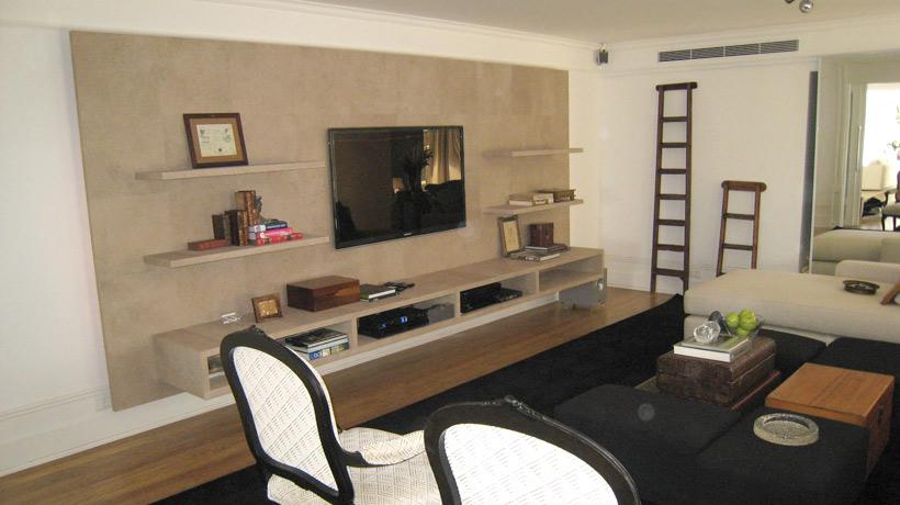 Sala de televisão com home theater