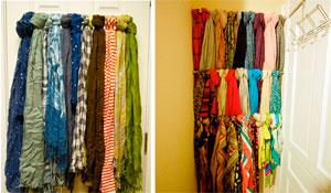 Como organizar lenços e echarpes