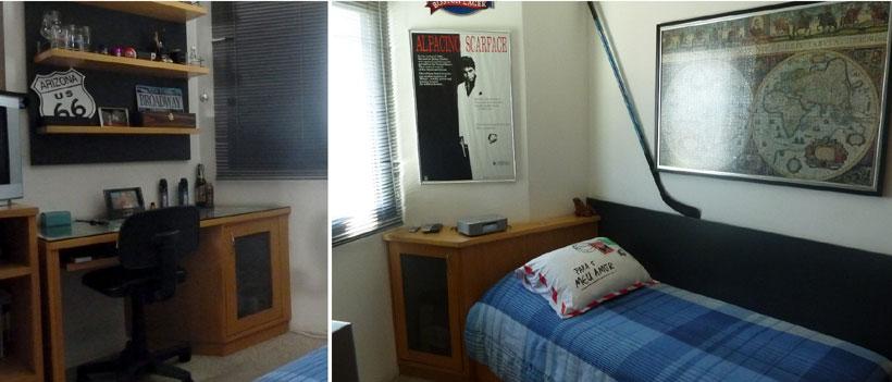 Quarto com armários de madeira e painéis pretos