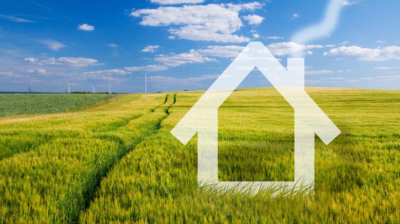 desenho de casa em terreno verde