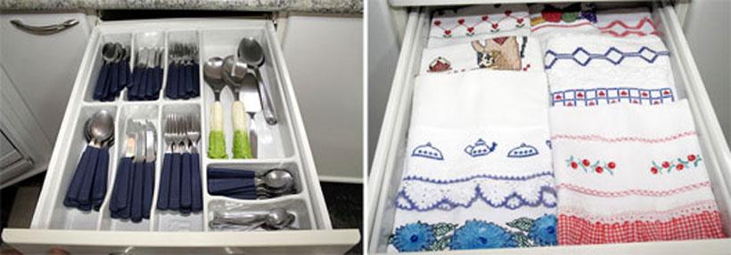 Organize os talheres e panos de pratos