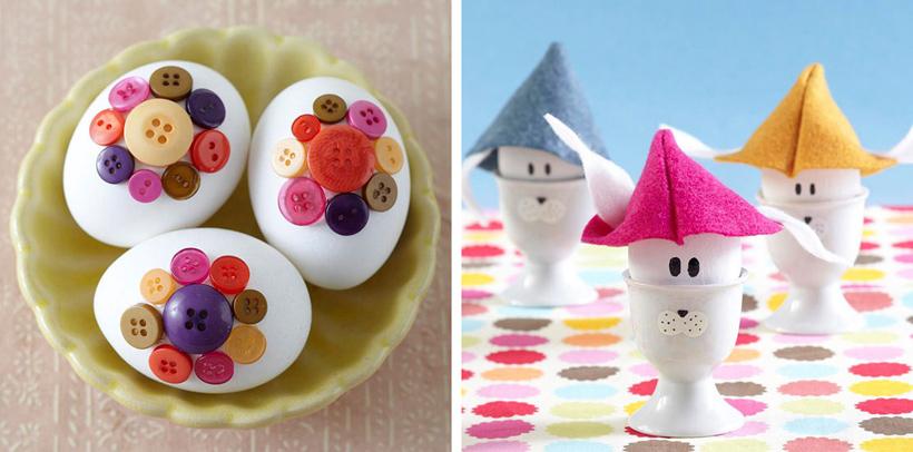 Ovos decorados com botões para páscoa