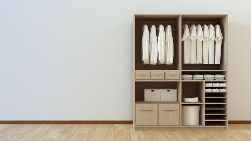 armário de roupas sem portas