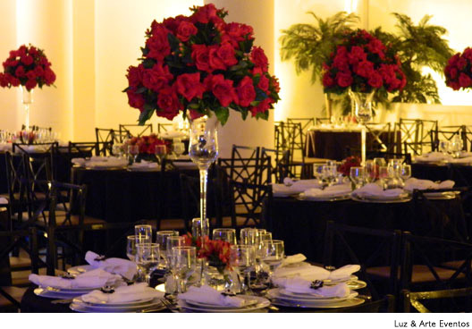 Mesas de convidados decoradas