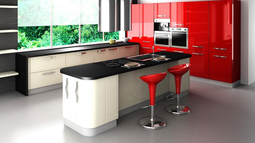 cozinha decorada em tons de vermelho e preto