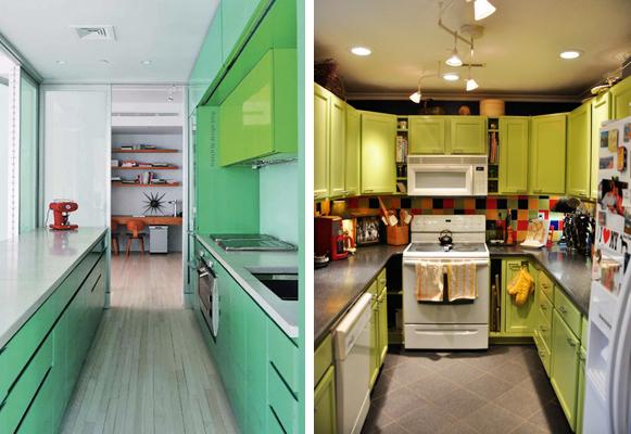 Cozinhas com armários coloridos