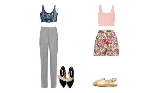 Calça comprida cinza e shorts florido com tops