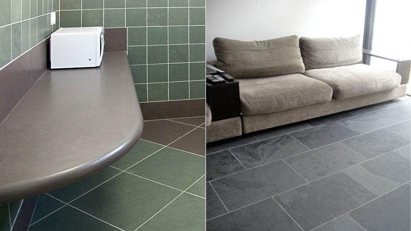 Cozinha e sala com piso de ardósia