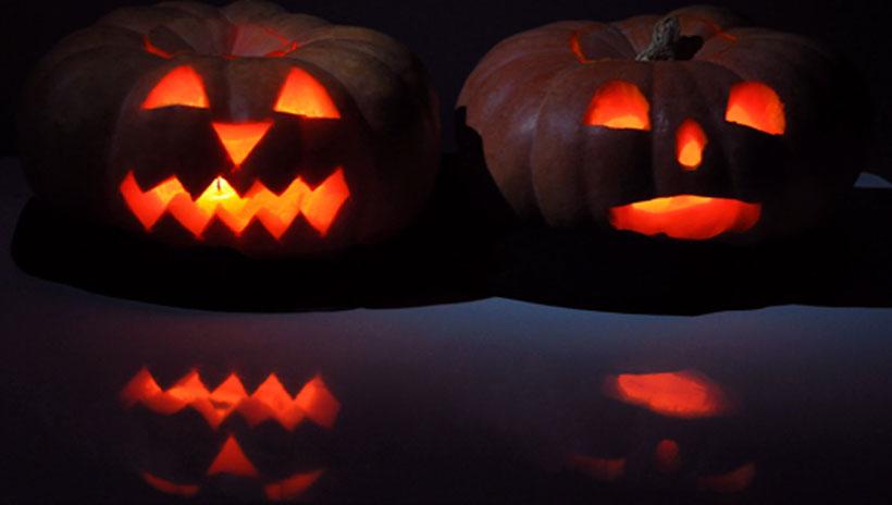 Abóbora iluminada para decoração de halloween