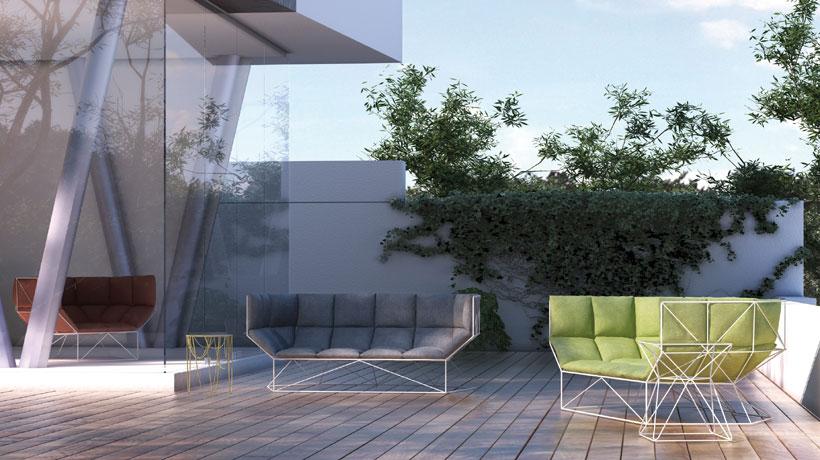 área externa com poltronas e sofá em aço