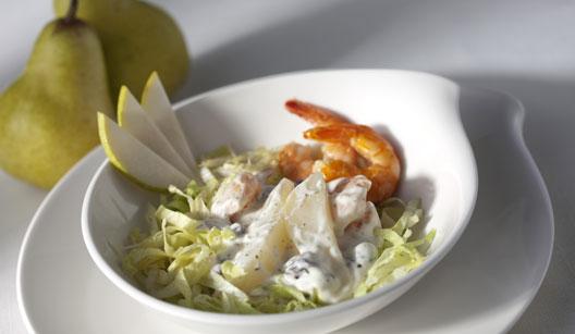 Salada de camarão com pera