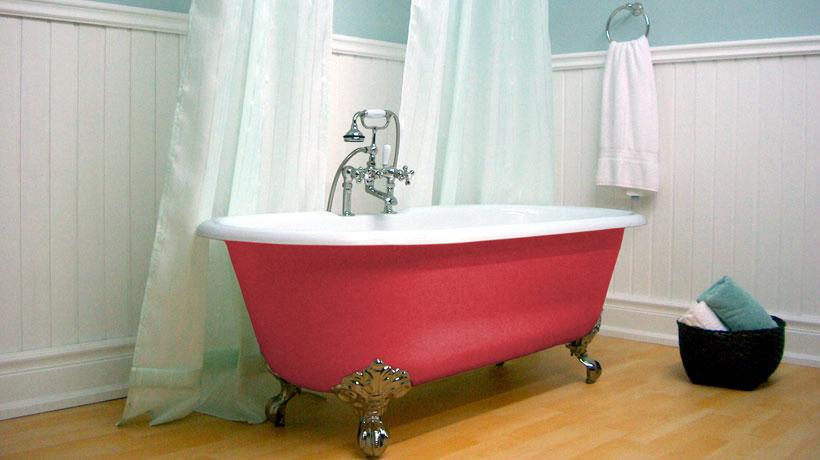 banheira vitoriana vermelha