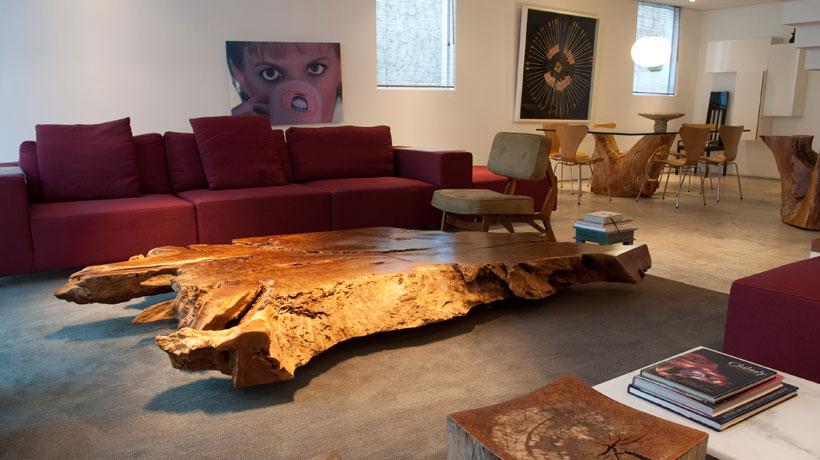 Toras de madeira em móveis
