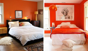 Ambientes com parede laranja