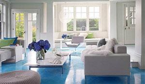 Ambientes com piso colorido