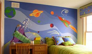 Quarto infantil com tema espacial