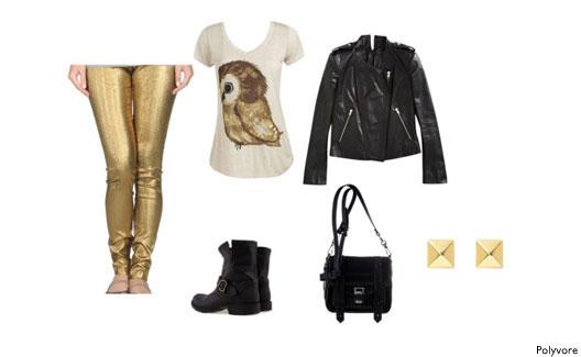 Legging dourada, blusinha e acessórios