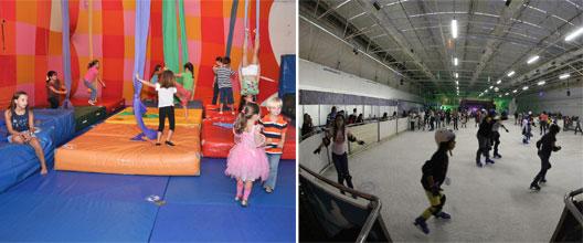 Crianças brincando no circo e  patinando no gelo