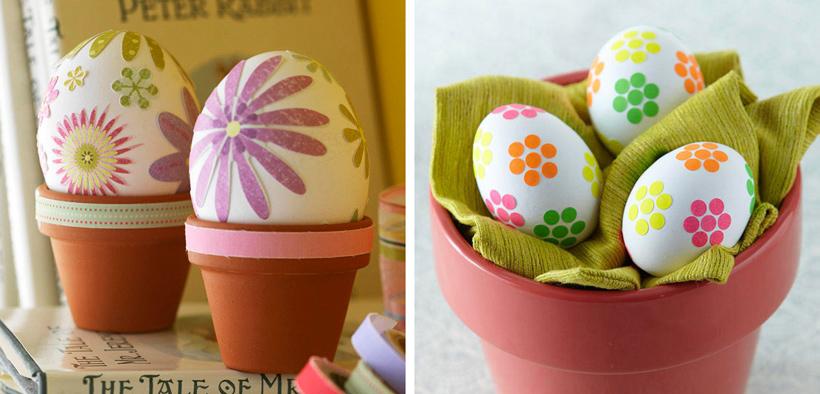 Ovos coloridos decorados para páscoa