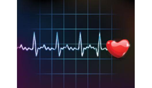 Cardiograma com coração vermelho