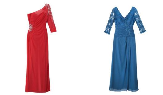 Vestido longo vermelho e vestido longo azul
