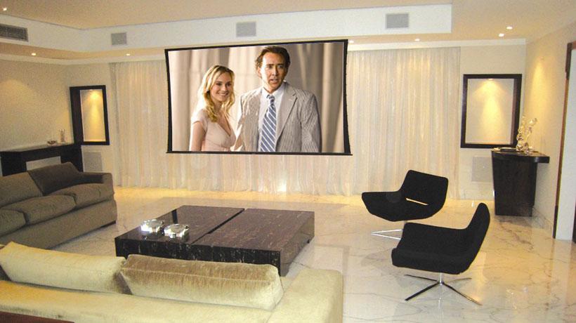 sala de cinema em casa com tela de projeção