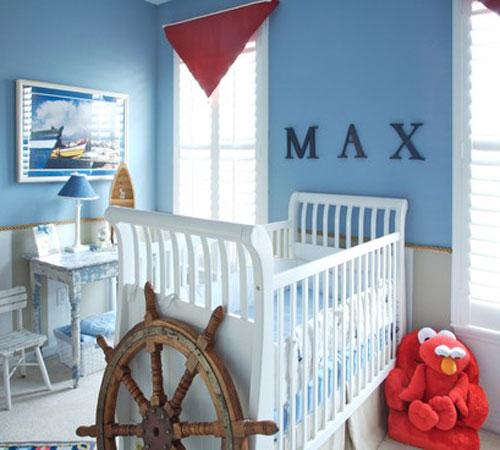 Decoração de quarto infantil com tema náutico