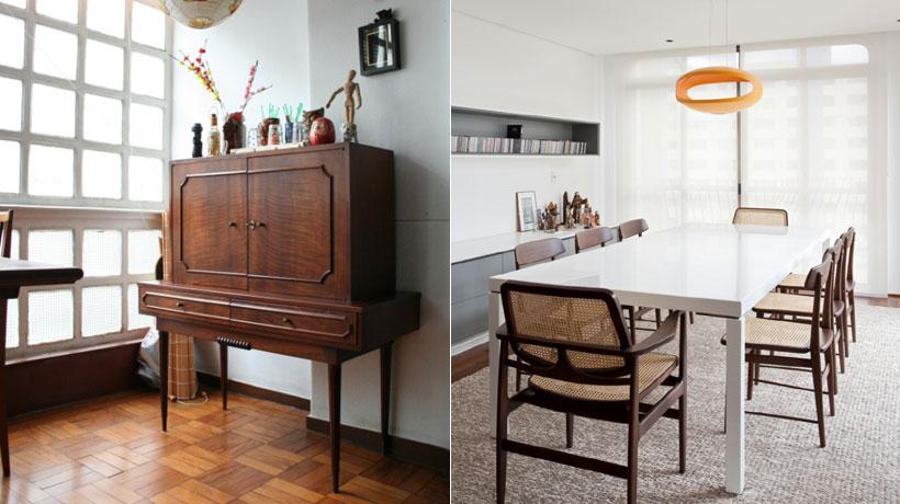 bar e sala de jantar com cadeiras vintage