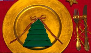 Como dobrar o guardanapo em forma de árvore de Natal