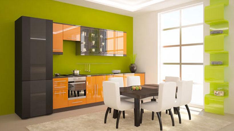 Cozinha com a tendência color block cereja