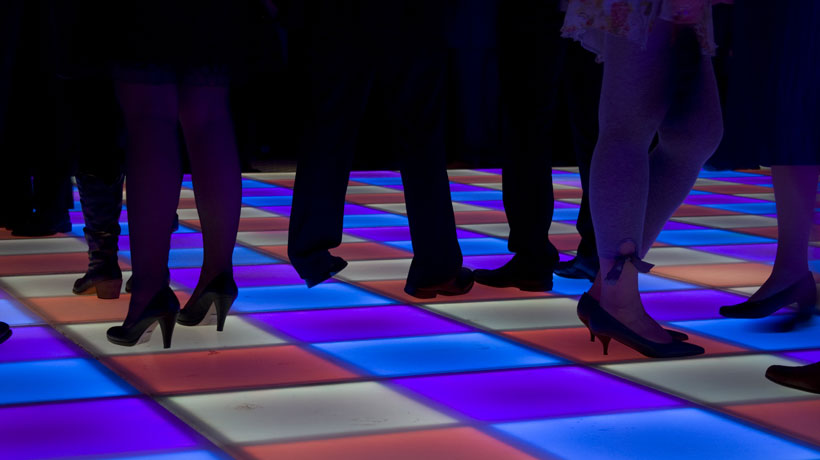 Chão da pista de dança colorido