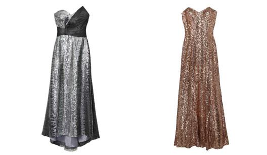 Vestido longo prata e vestido longo dourado