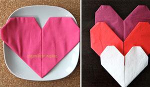 Aprenda a dobrar o guardanapo em forma de coração