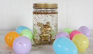 Decoração de Páscoa no pote de vidro