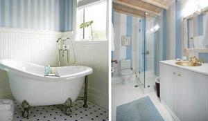 Banheiros com paredes listradas