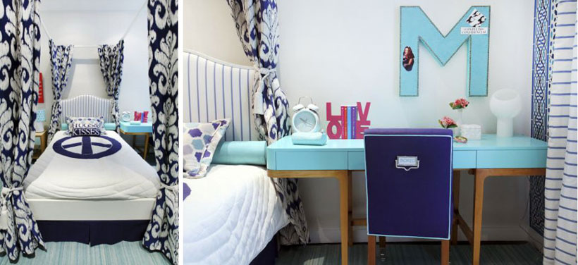 Quarto com cama com dossel e escrivaninha azul