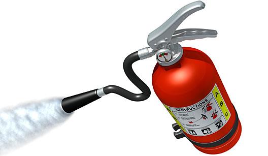 Extintor de incêndio assionado.