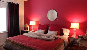 Ambientes com parede vermelha