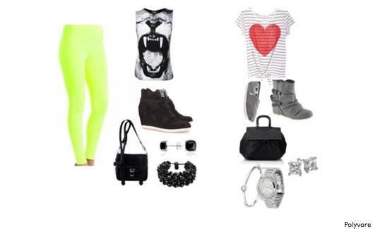 Legging fluorescente, blusinhas e acessórios