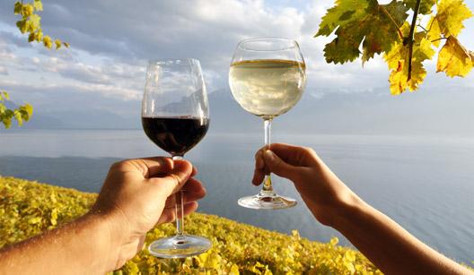 garrafa de vinho e cesta com uvas e pêssego