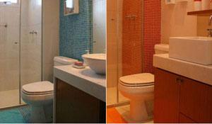 Pastilhas fazem combinações cromáticas no banheiro