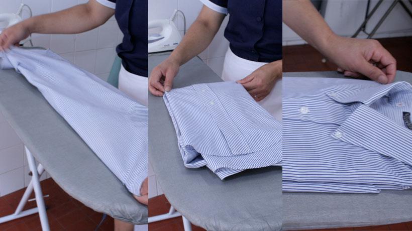 dobrando a camisa ao meio