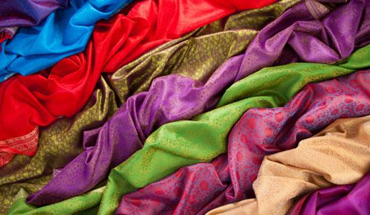 seda de várias cores