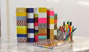 Decore pastas e cadernos com fitas adesivas
